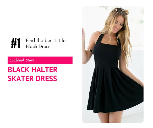 Black Halter Skater Dress by Lookbook Store
