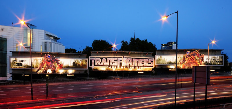 Transformers 3 billboards Cromwell Rd night