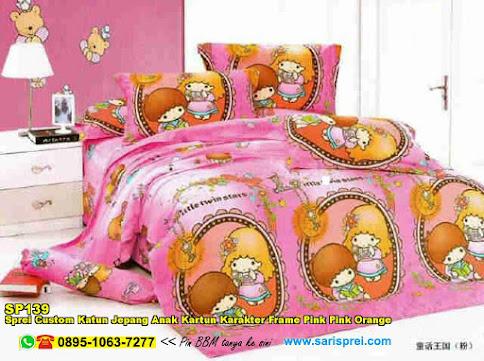 Sprei Custom Katun Jepang Anak Kartun Karakter Frame Pink Pink Orange