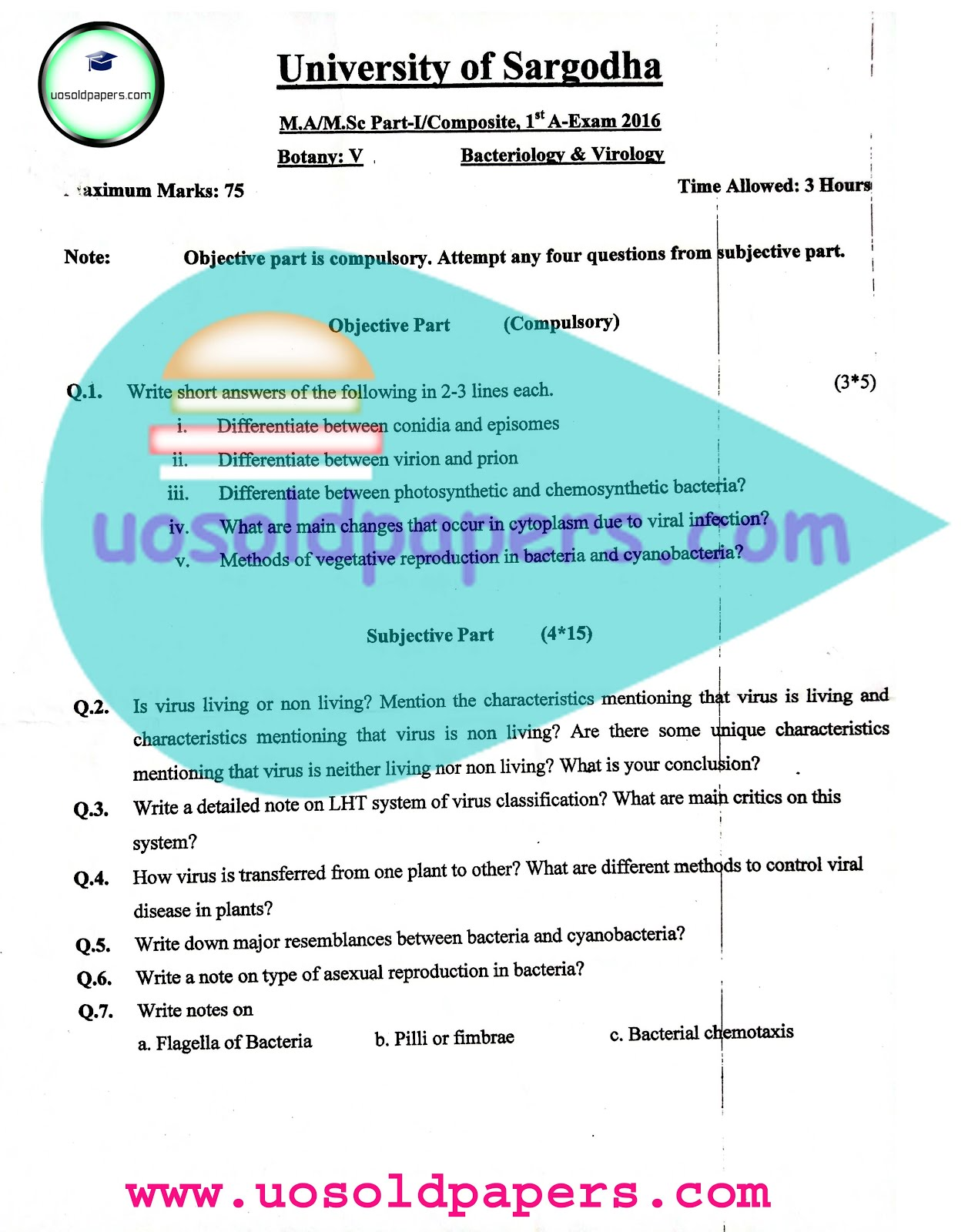 Paper-V Bacteriology and Virology, Fitst 2016 - UOS Past Papers