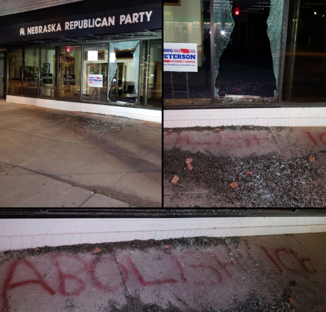 Vandals threw a brick through the window of the Nebraska Republican ... Throw Brick Through Window Of GOP Office, Leave Graffiti Message.