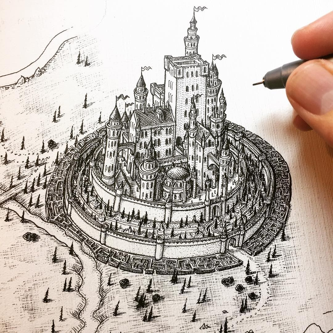 05-Highgarden-Game-of-Thrones-Jeff-Murray-Detailed-Miniature-Real-and-Imaginary-Urban-Drawings-www-designstack-co