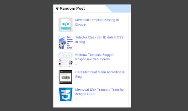 Memasang Widget Random Post Bergerak For Blogspot