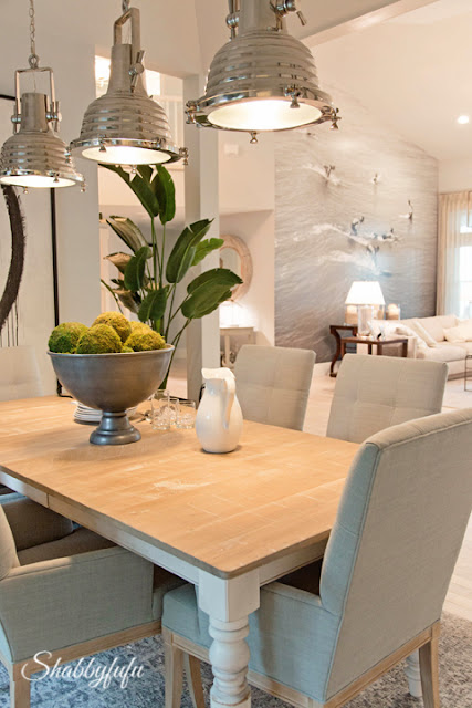 The dining room in the HGTV Dream Home 2016. This coastal/industrial mixed style is to die for.