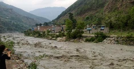 blocked kali gandaki river starts overflowing