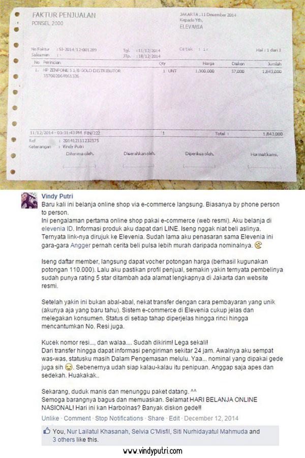 Testimoni original oleh saya (Facebook Vindy Putri) Belanja di Elevenia Gratis Voucher 1 Juta