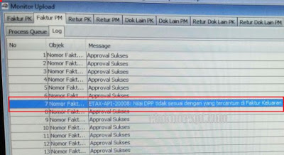 Upload faktur pajak masukan reject ETAX-API-20008