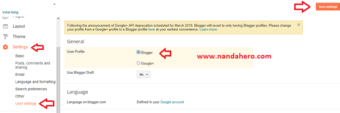 cara ganti users google plus ke blogger