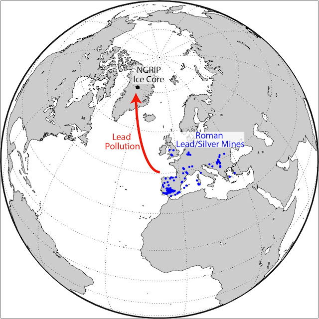 Lead pollution in Greenland ice shows rise and fall of ancient European civilizations