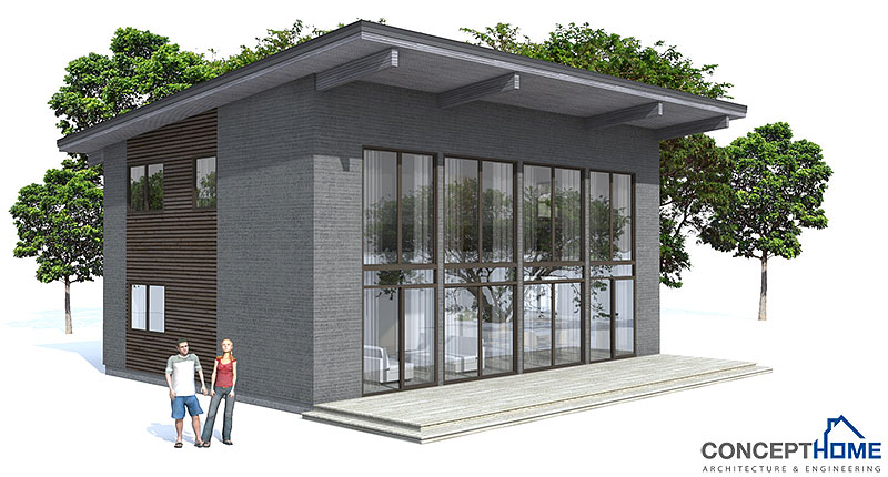 Modern Tiny House Plans: Contemporary House Plans: Small Modern House CH50