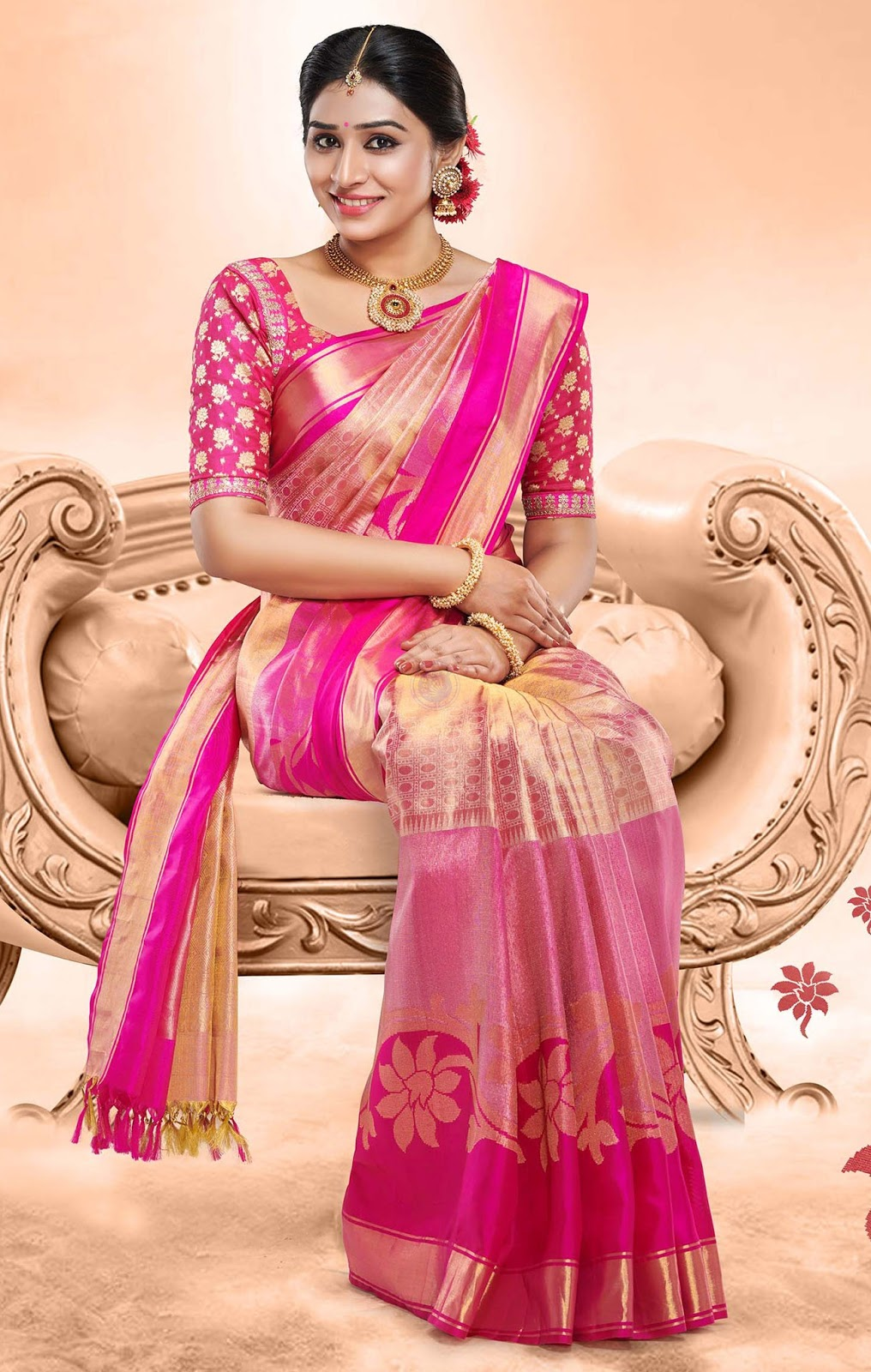 842b50422b Type: Vivaha Silk Saree Material: Pure Silk Color: Pink Pallu: Gold color  with full of weaving design work. Body: A mix of gold and pink work.