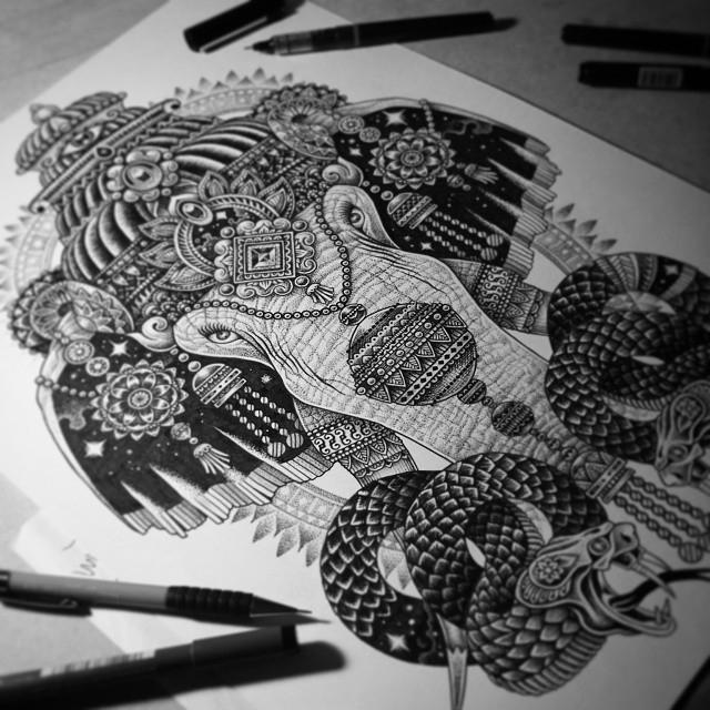 06-Cosmic-Ganesh-Tony-Graystone-Neon-Mystic-Black-and-White-Drawings-www-designstack-co