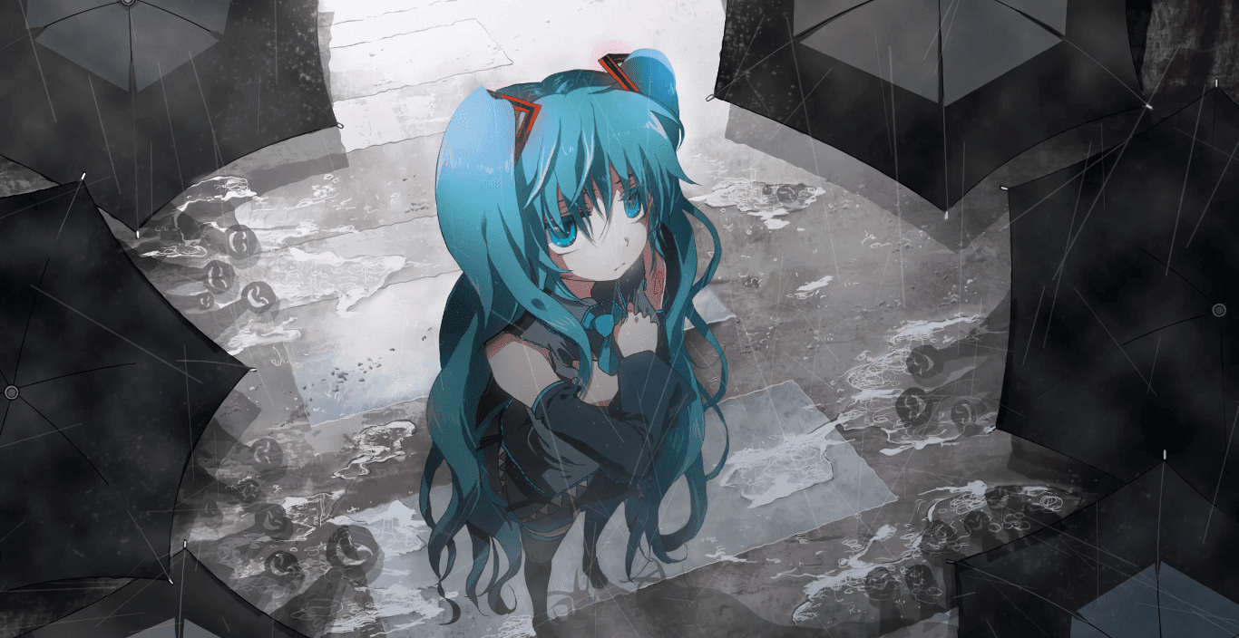 Miku in the rain [2k 60fps] [Wallpaper Engine Anime]