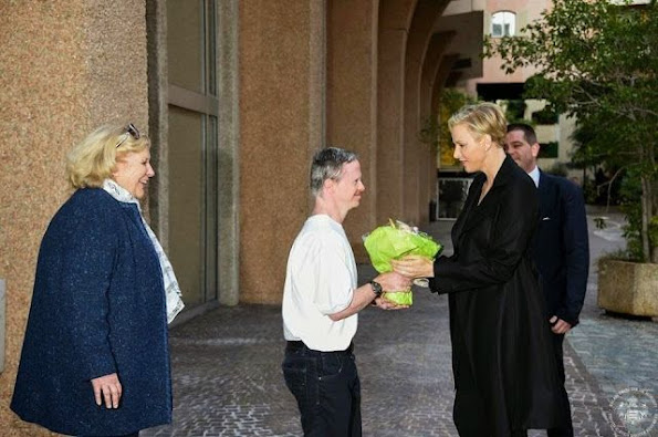 """Princess Charlene participated in the opening of the """"Princess Charlene Swimming Competition"""" organized by Special Olympics at the Louis II Stadium in Monaco"""