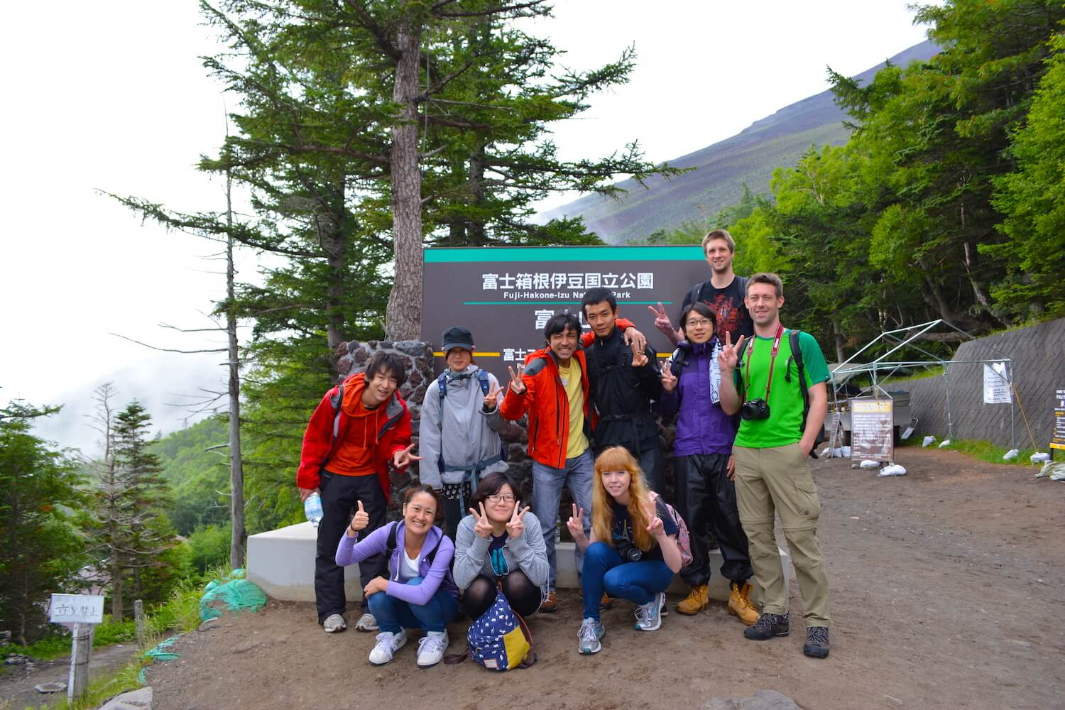 group photo at the base of mt fuji
