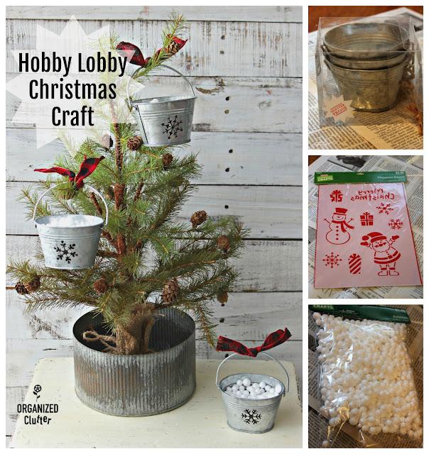 Hobby Lobby Christmas Crafting With Galvanized Pails & Stencils #snowflake #hobbylobby #galvanized #ornaments #Christmasdecor #stencil #farmhouseChristmas