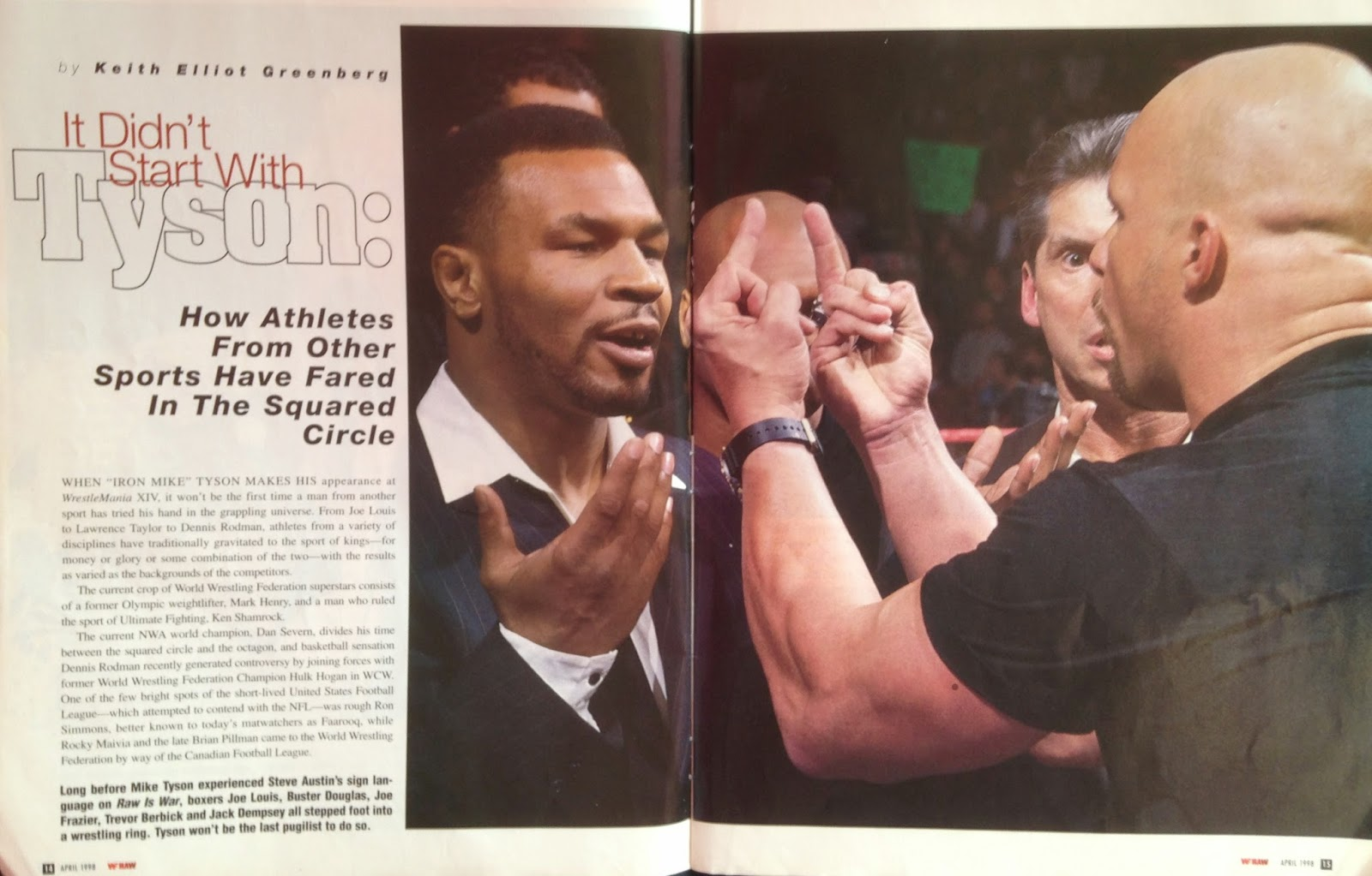 WWE - WWF Raw Magazine - April 1998 -   Austin and Tyson