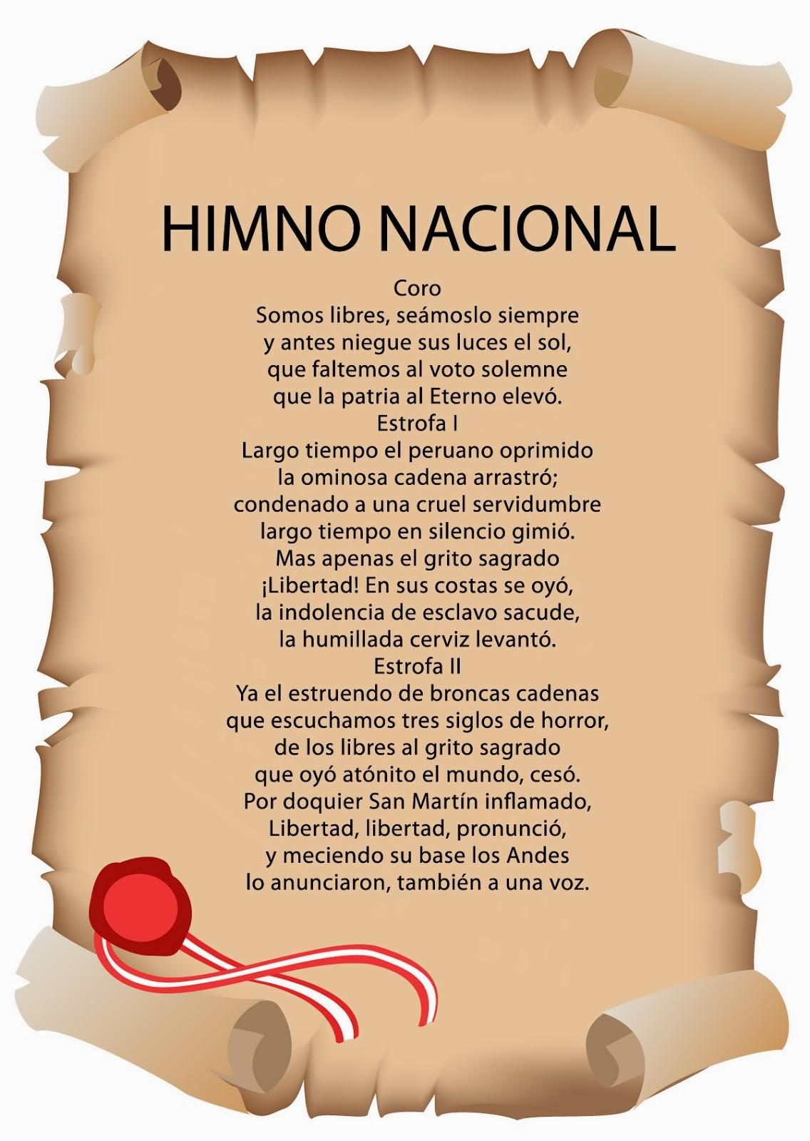 La El Himno Peru Nacional El Bandera De Y Escudo