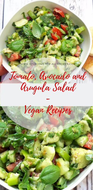 Vegan Healthy Clean Eating Meals - Tomato, Avocado And Arugula Salad