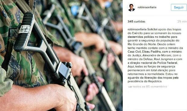 Temer autoriza envio de tropas do Exército para combater ataques no RN