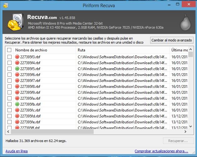 Piriform Recuva v1.45 Español + Portable