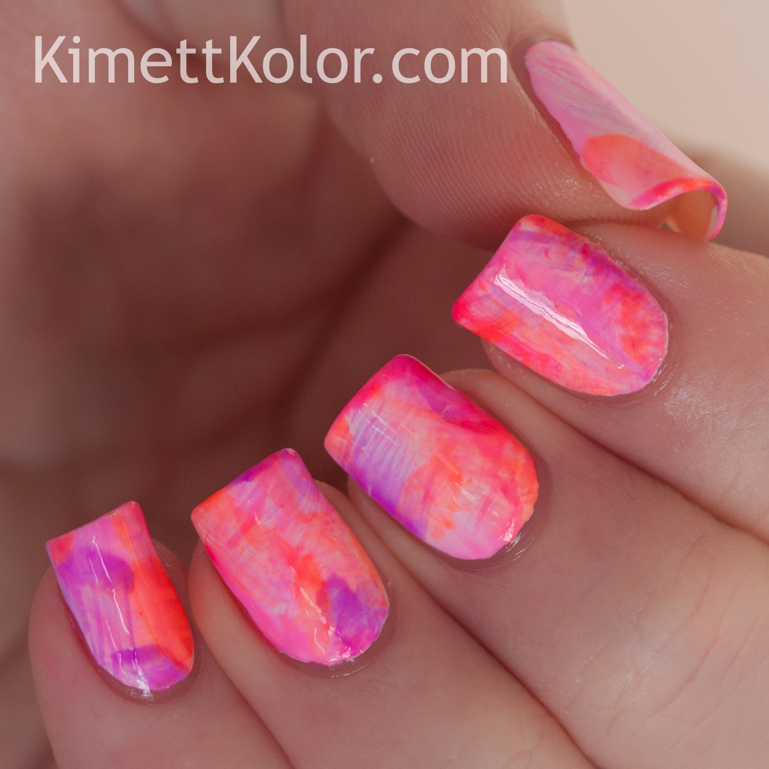 #whencolourscollide purple_organge_pink nail art KimettKolor