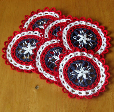 Patriotic Red White and Blue Coaster Set - Americana Handmade By RSS Designs In Fiber