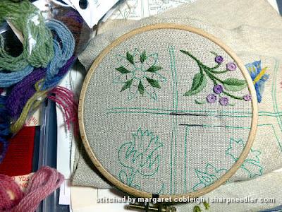 Crewel Sampler (by Elsa Williams): Working on a pink flower