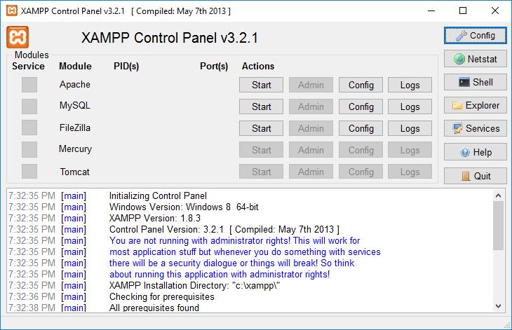 8. instalasi xampp control panel
