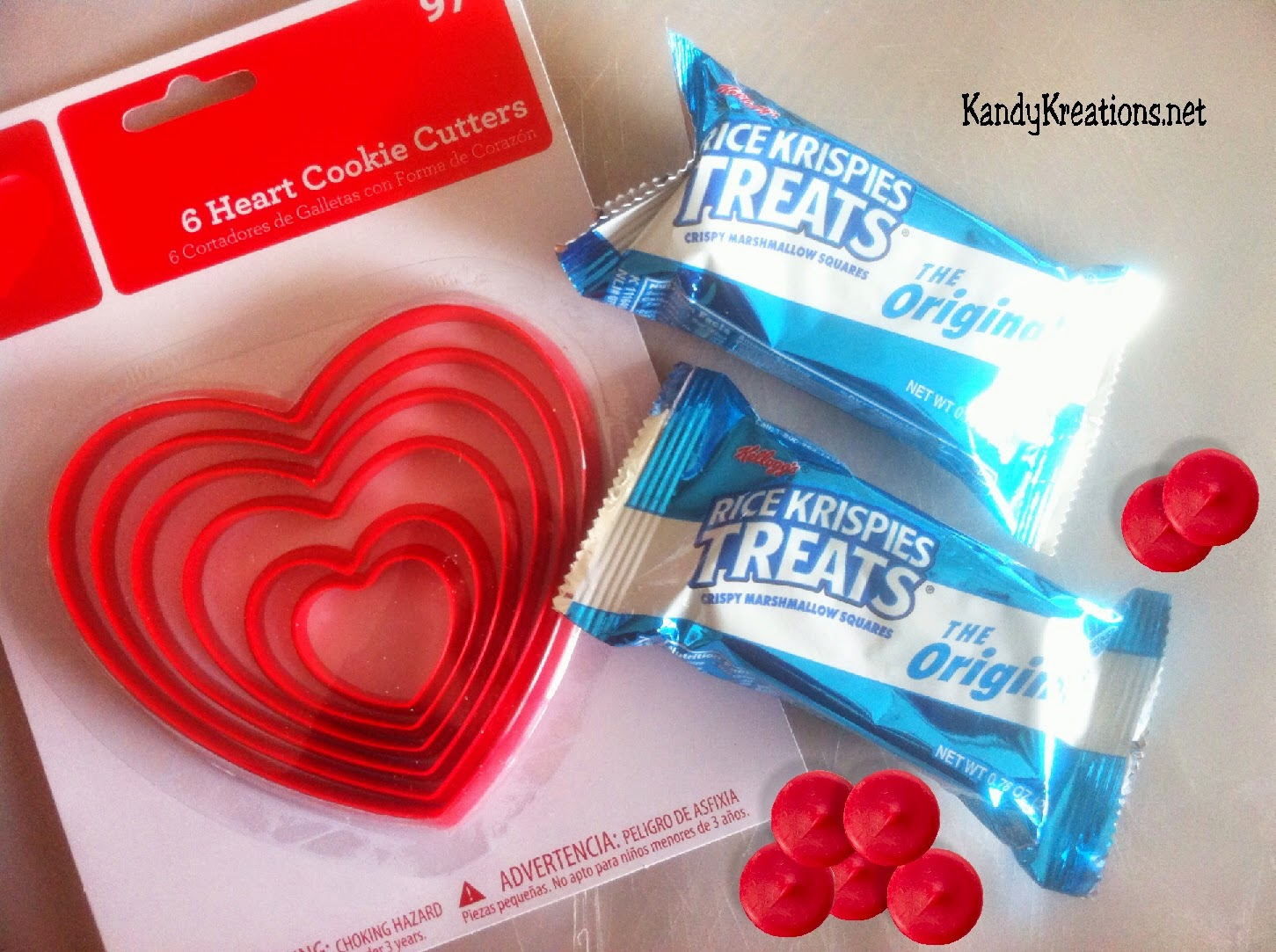 Ingredients needed to make Rice Krispie Heart Valentine Treat Printables