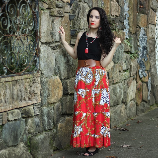 Red Chain Print Skirt