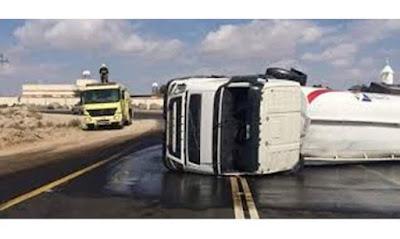 حادث طريق سوهاج الغربي انقلاب سيارة محلة ب 53 طن بنزين
