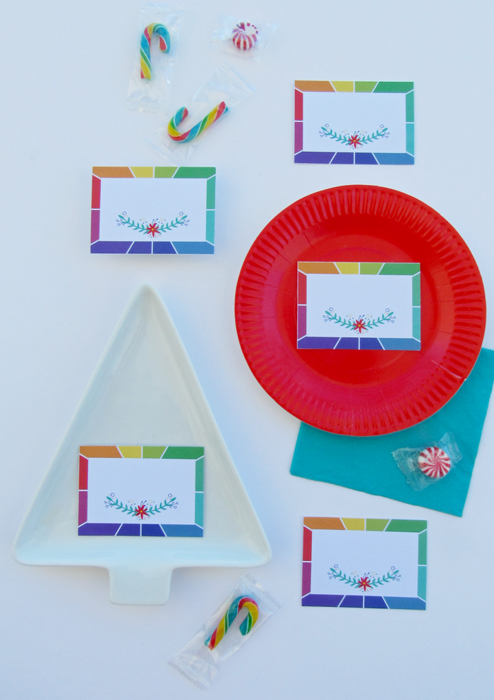 Tarjetas de lugar imprimibles gratuitas, descarga, rueda de color, círculo cromático, mesa, decoración