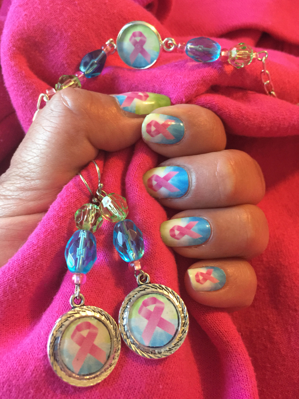 Blue and Pink Ribbon Nail Art