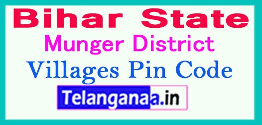 Munger District Pin Codes in Bihar State