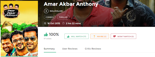 Amar Akbar Anthony (2015) Malayalam Movie Watch Online and Download Free AVI