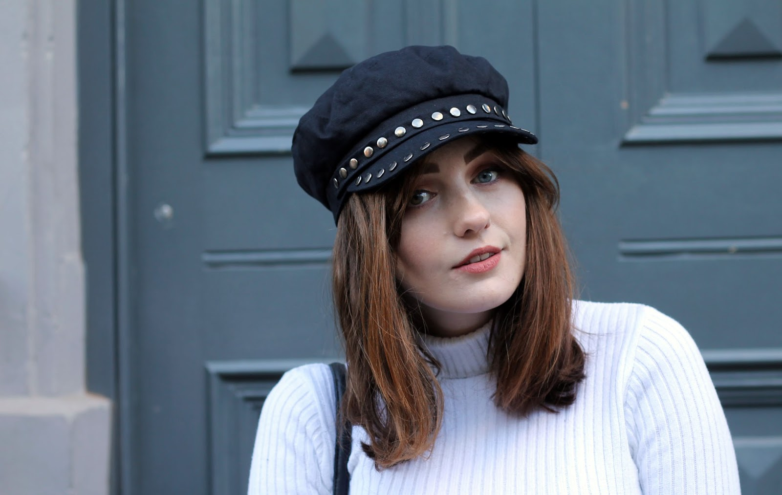 Liverpool blogger Allie Davies Topshop black studded baker boy hat