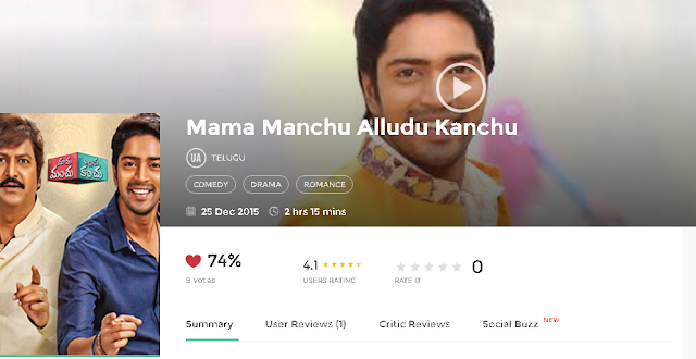 Mama Manchu Alludu Kanchu 2015 Telugu Movie Free in 720p avi mp4 HD 3gp hq