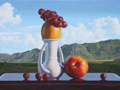 paisaje con frutas pintados al oleo