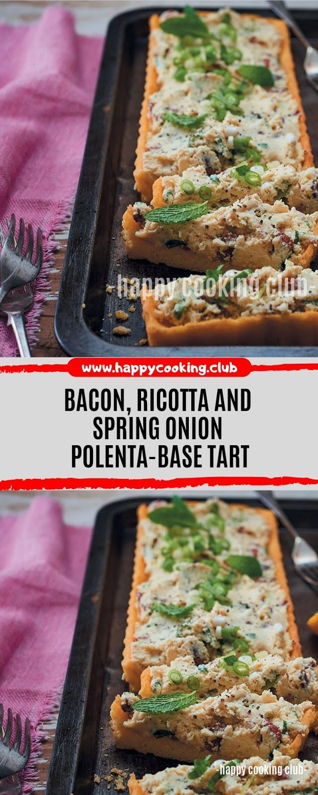 Bacon, ricotta and spring onion polenta-base tart