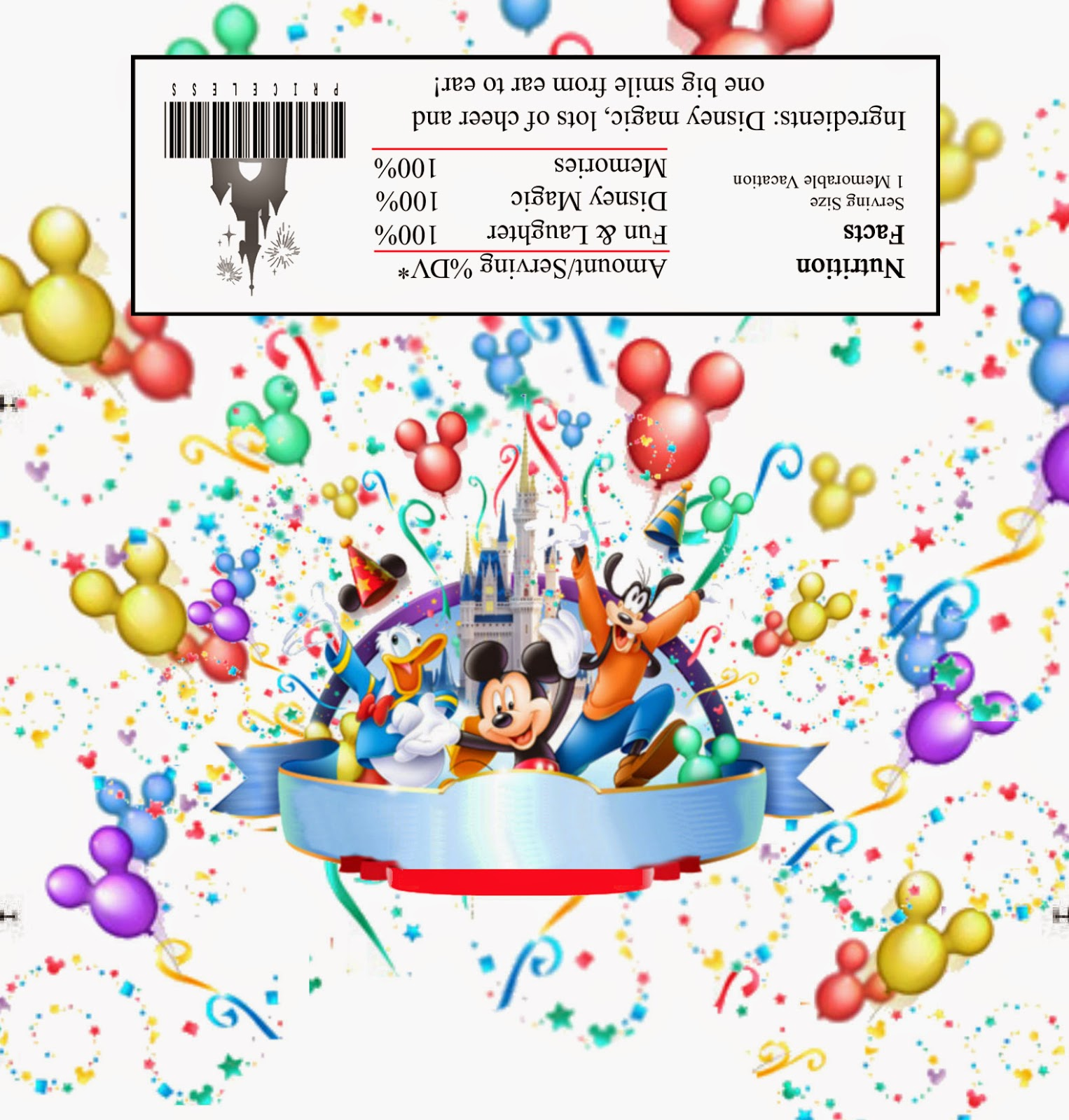 Free Printable Chocolate Wrapper of Mickey Mouse, Donald Duck and Goofy.