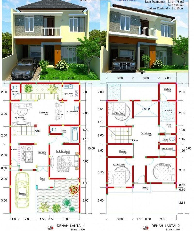 14 Contoh Gambar Denah Rumah Minimalis 2 Lantai 3d Ukuran 6x10