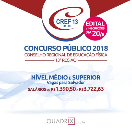 CREF Bahia abre Inscrição de Concurso (Edital 2018)