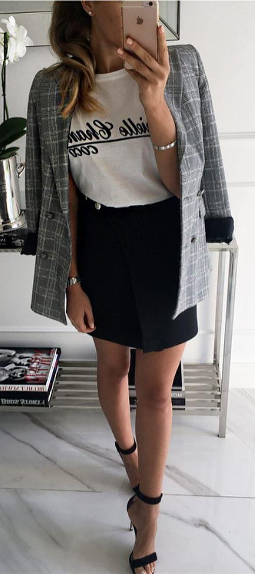how to wear heels : plaid blazer + printed top + black skirt