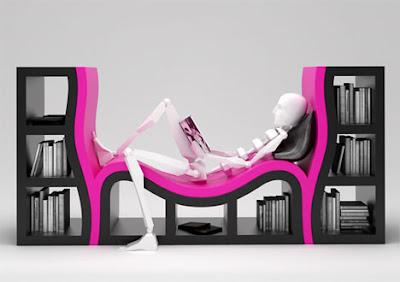 diseños librero y sillón en uno.