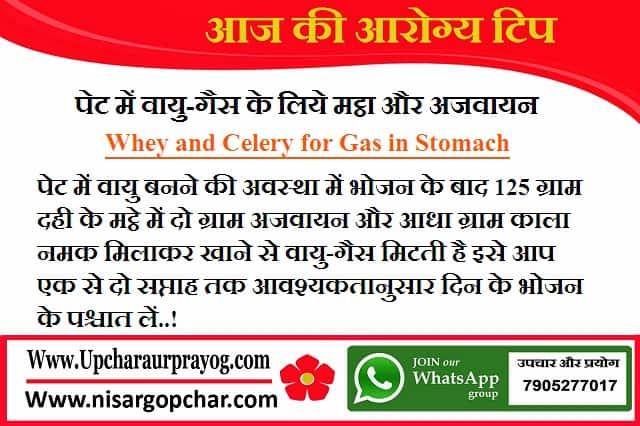 पेट में वायु-गैस के लिये मट्ठा और अजवायन-Whey and Celery for Gas in Stomach
