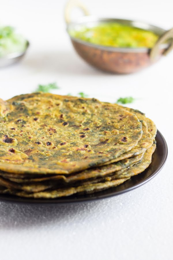 How to make vegan methi fenugreek paratha recipe at www.oneteaspoonoflife.com