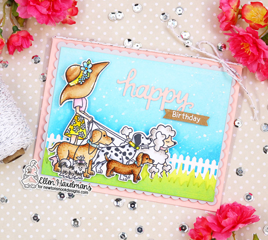 Happy Dog Walker Card by Ellen Haxelmans | Walking Woofs Stamp Set, Land Borders Die Set and Frames & Flags Die Set by Newton's Nook Designs #newtonsnook #handmade