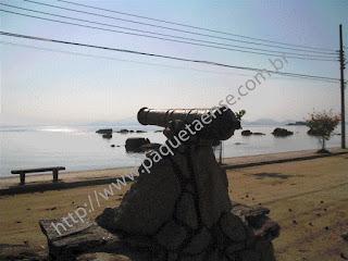 Imagem do Canhão do Século XIX da Praia dos Tamoios