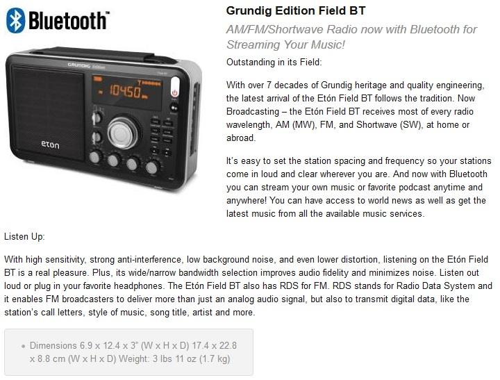 3fa37d00979 Eton Field with Bluetooth version. New BT Field radio selling on Amazon.com.